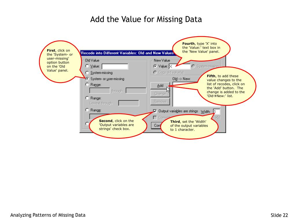 Add the Value for Missing Data