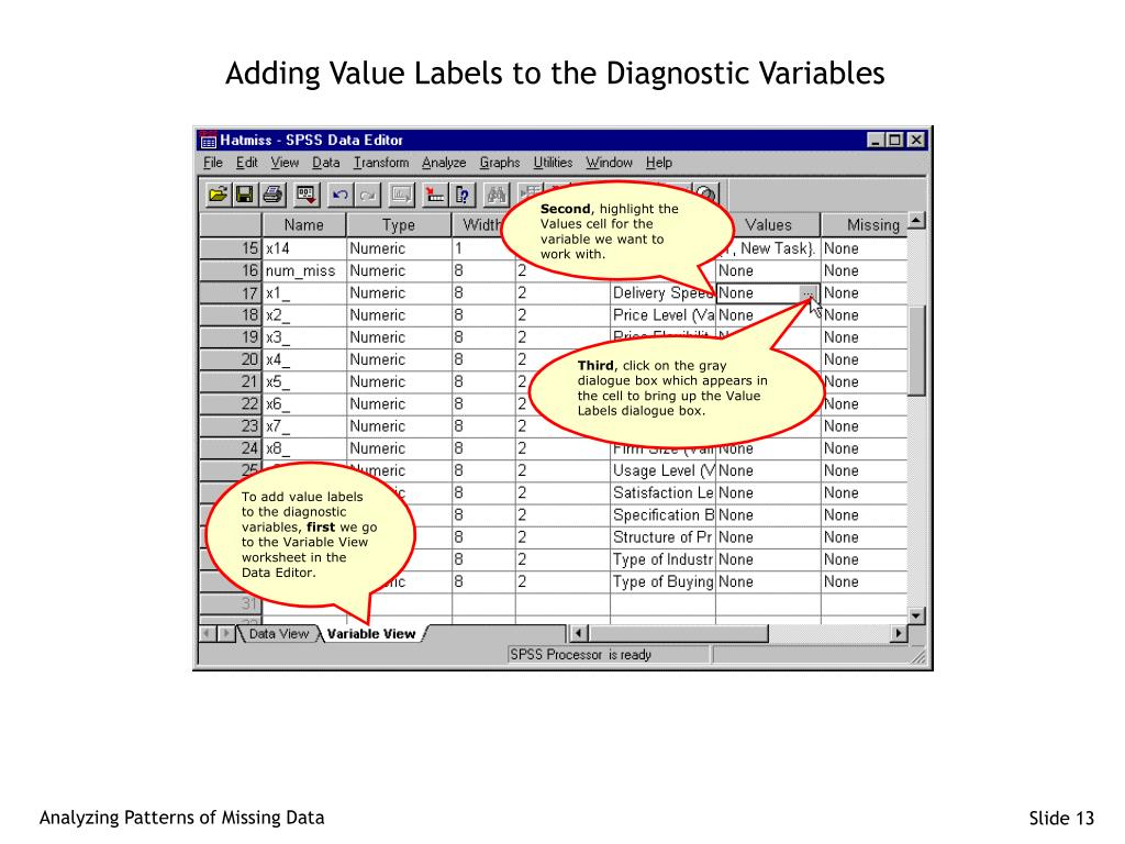 Adding Value Labels to the Diagnostic Variables