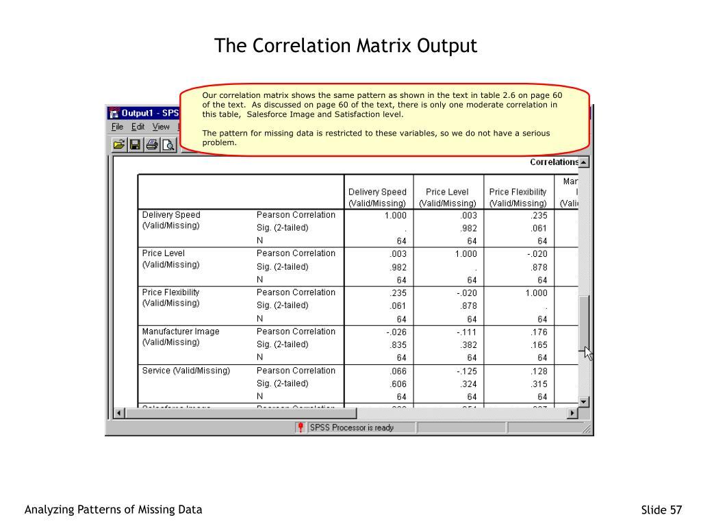 The Correlation Matrix Output