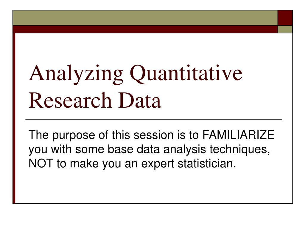 Analyzing Quantitative Research Data