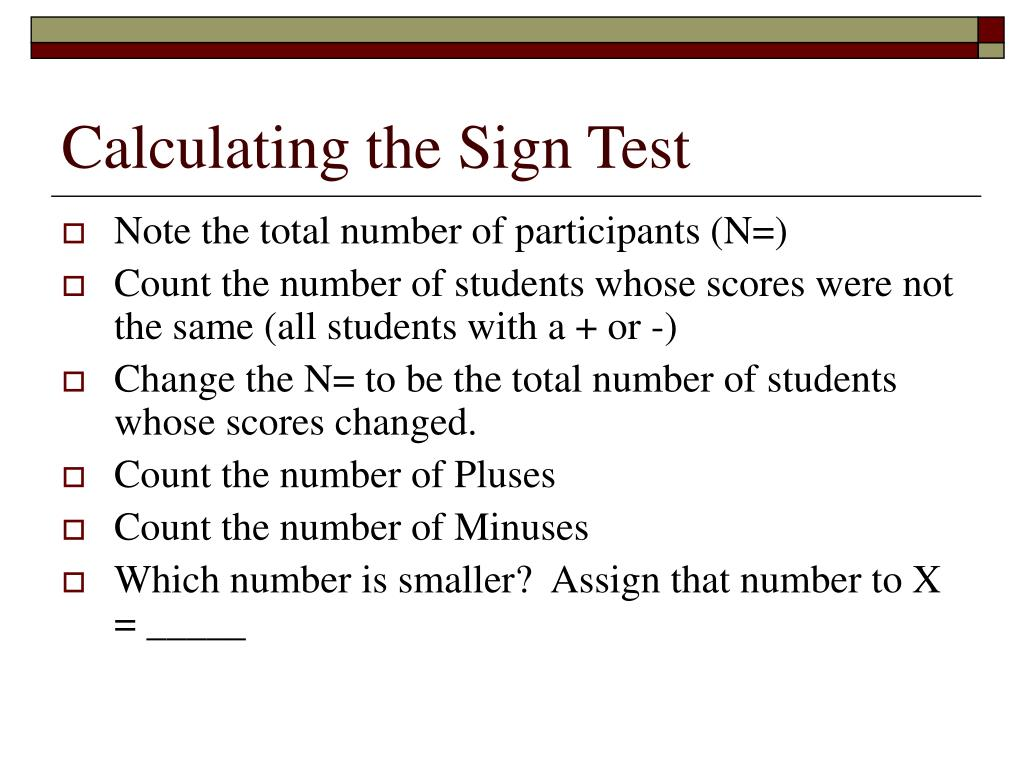 Calculating the Sign Test
