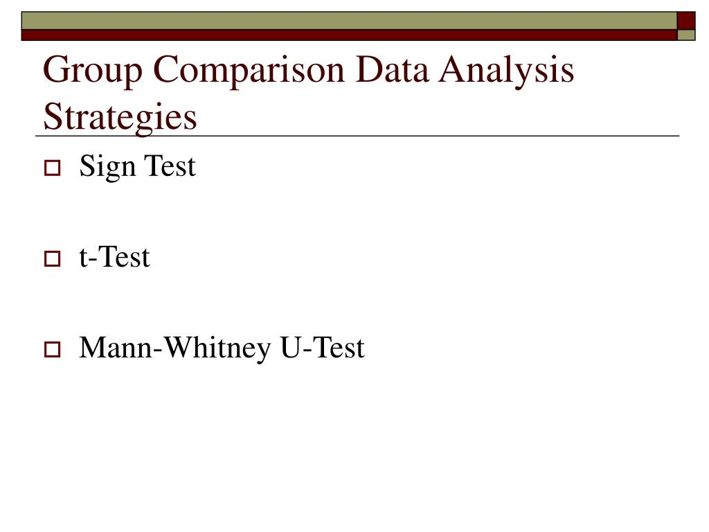 Group Comparison Data Analysis Strategies