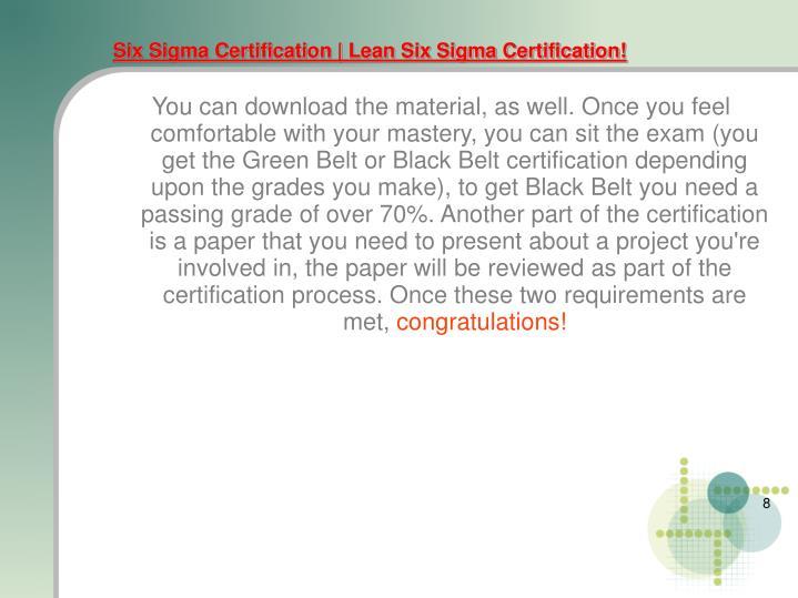 Six Sigma Certification   Lean Six Sigma Certification!