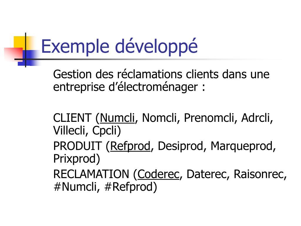 Exemple développé