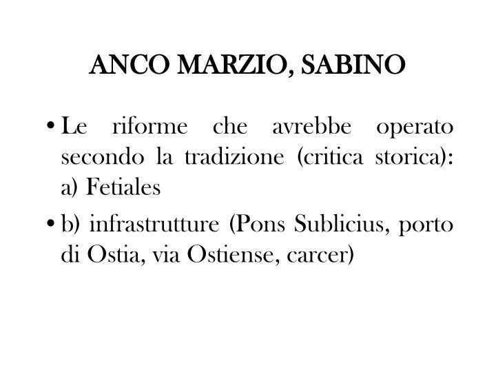 ANCO MARZIO, SABINO