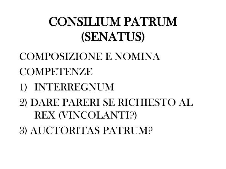 CONSILIUM PATRUM (SENATUS)