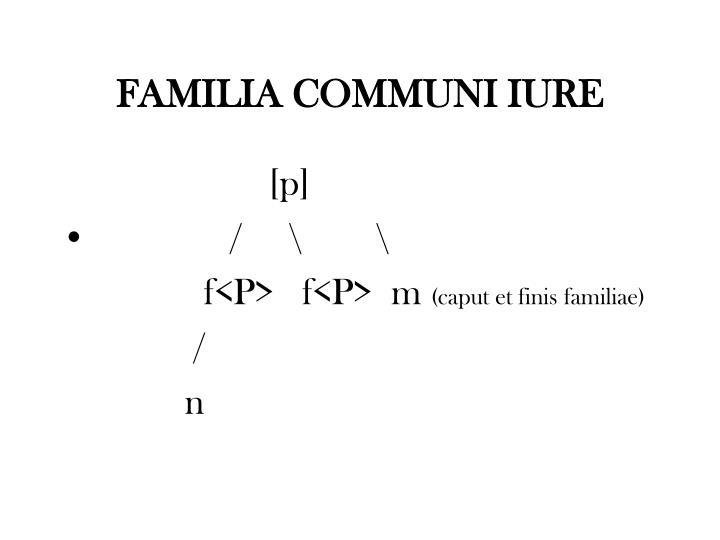 FAMILIA COMMUNI IURE