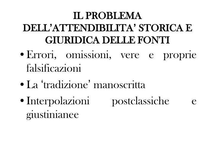 IL PROBLEMA DELL