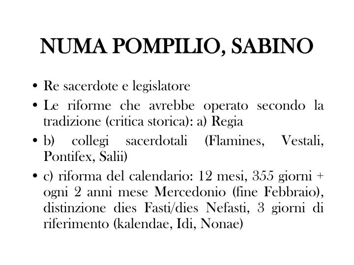 NUMA POMPILIO, SABINO