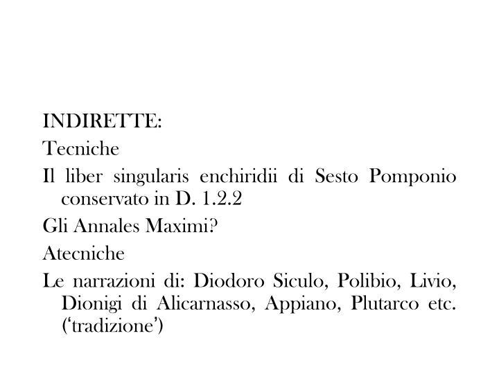 INDIRETTE: