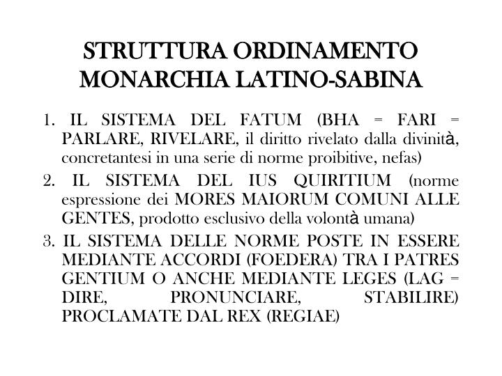 STRUTTURA ORDINAMENTO MONARCHIA LATINO-SABINA