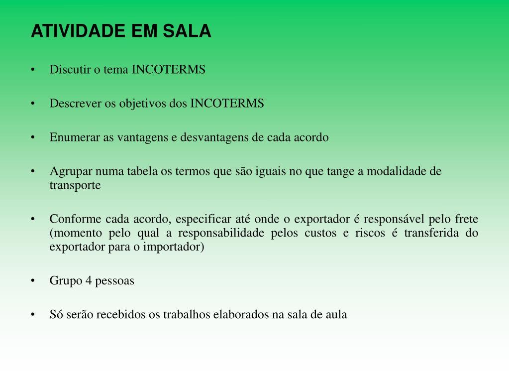 ATIVIDADE EM SALA