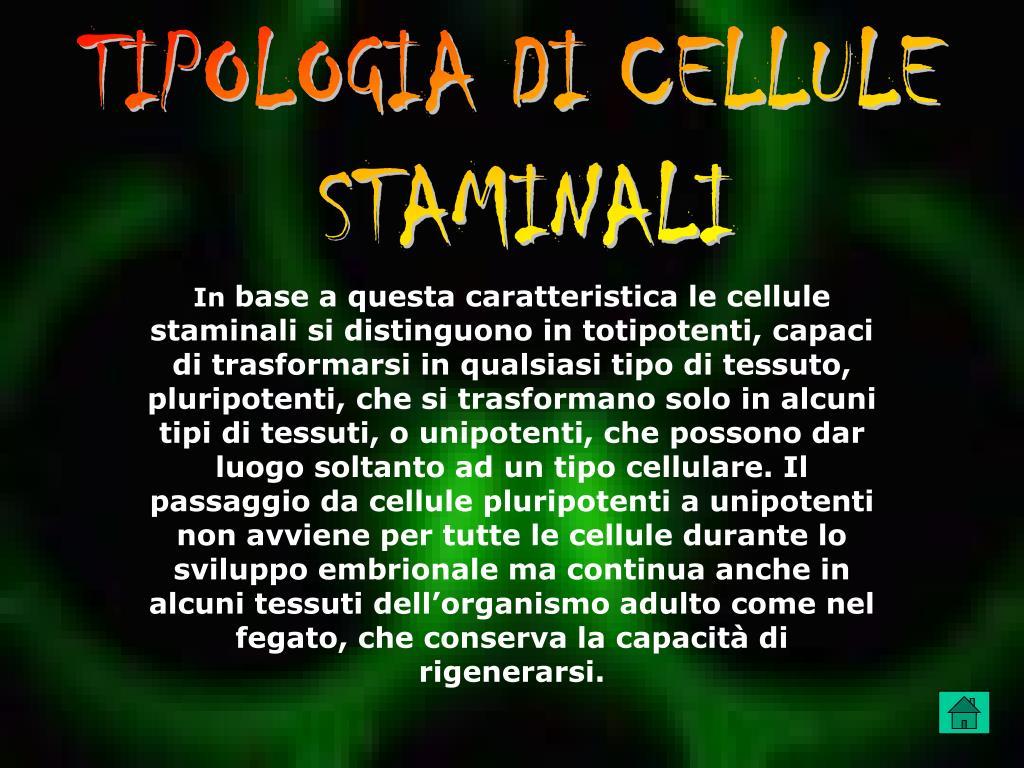 TIPOLOGIA DI CELLULE
