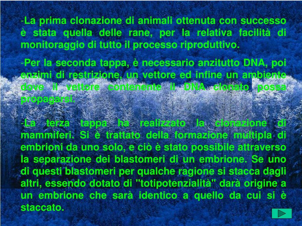 La prima clonazione di animali ottenuta con successo è stata quella delle rane, per la relativa facilità di monitoraggio di tutto il processo riproduttivo.