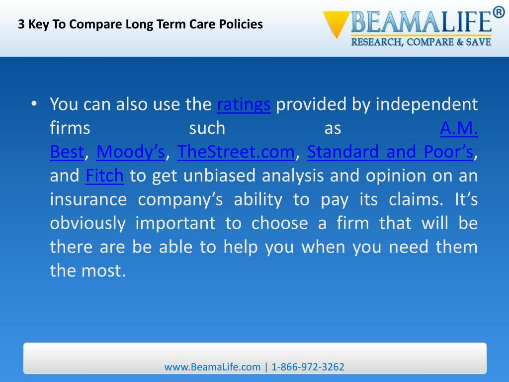 3 Key To Compare Long Term Care Policies