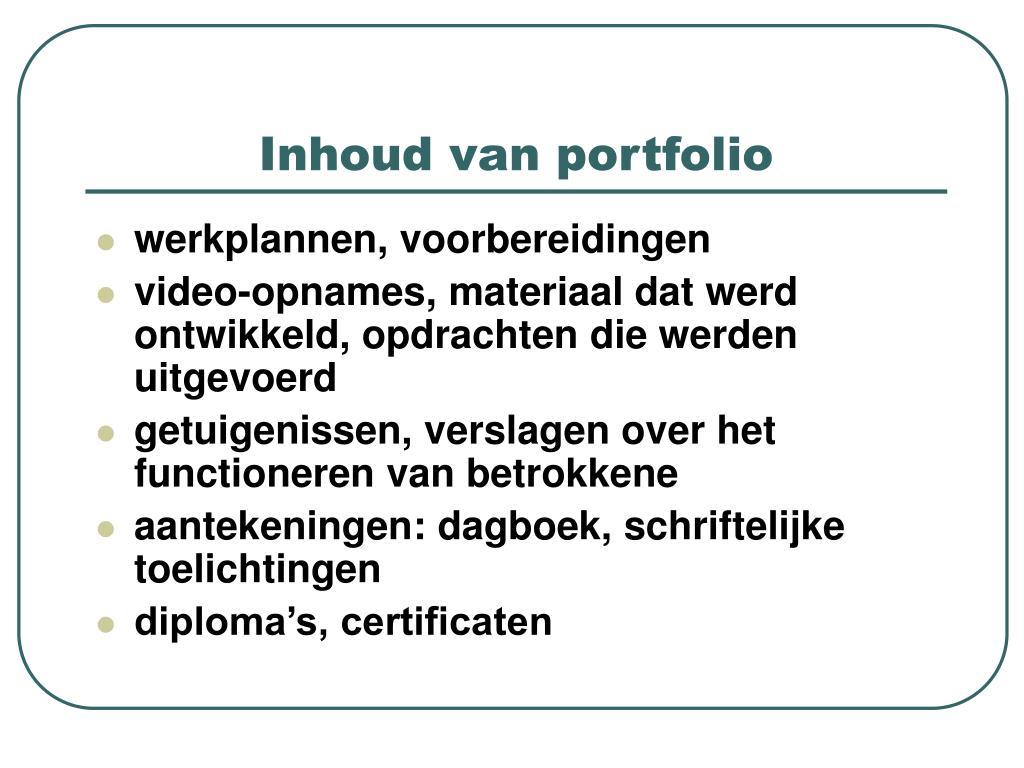 Inhoud van portfolio