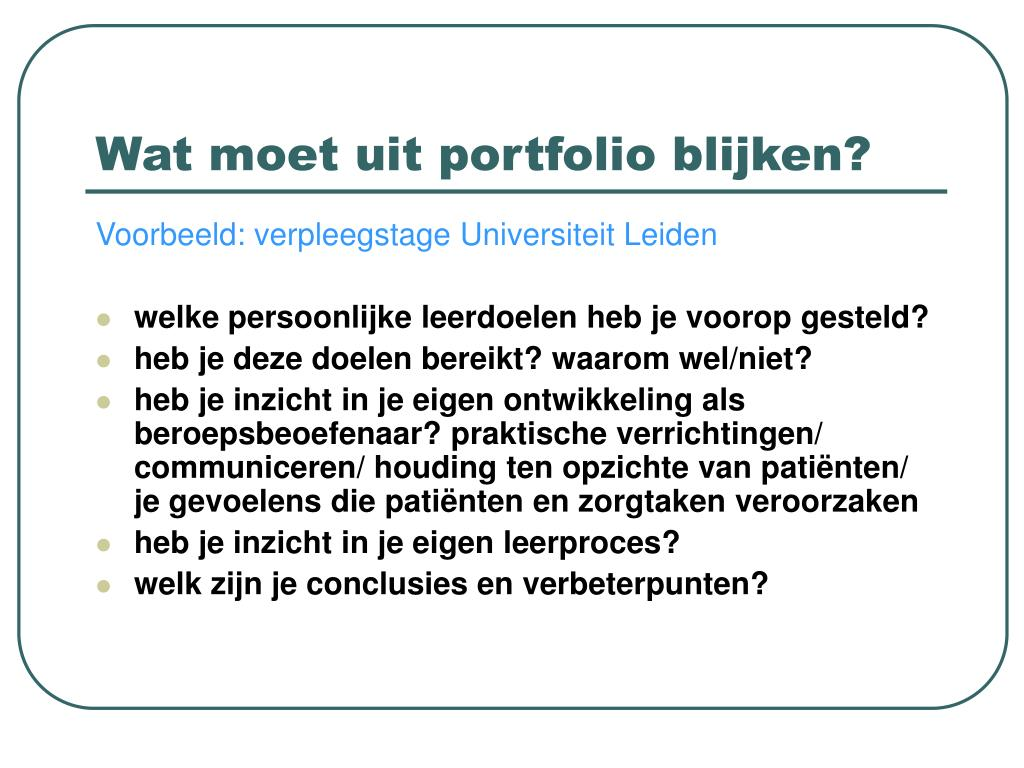 Wat moet uit portfolio blijken?