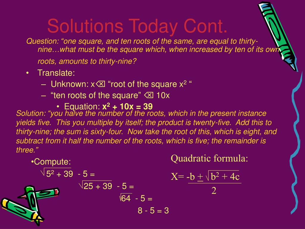 Solutions Today Cont.
