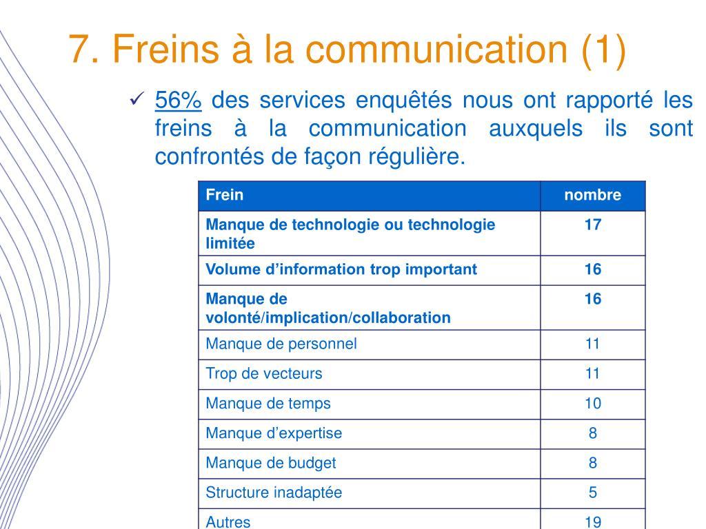 7. Freins à la communication (1)