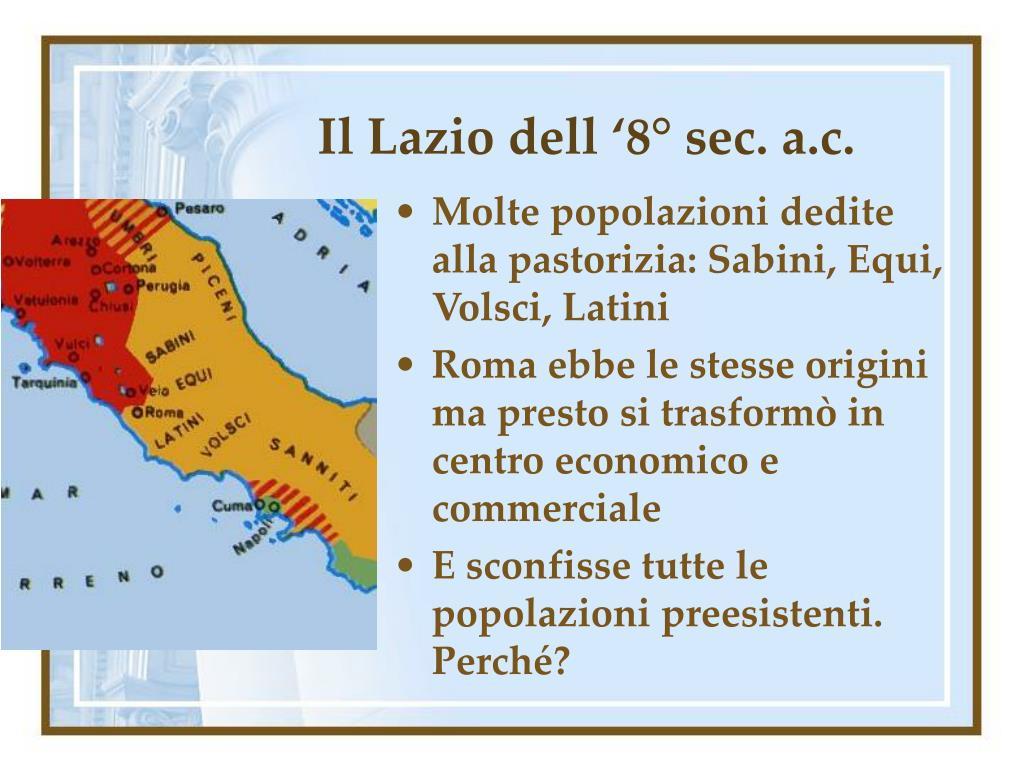 Il Lazio dell '8° sec. a.c.