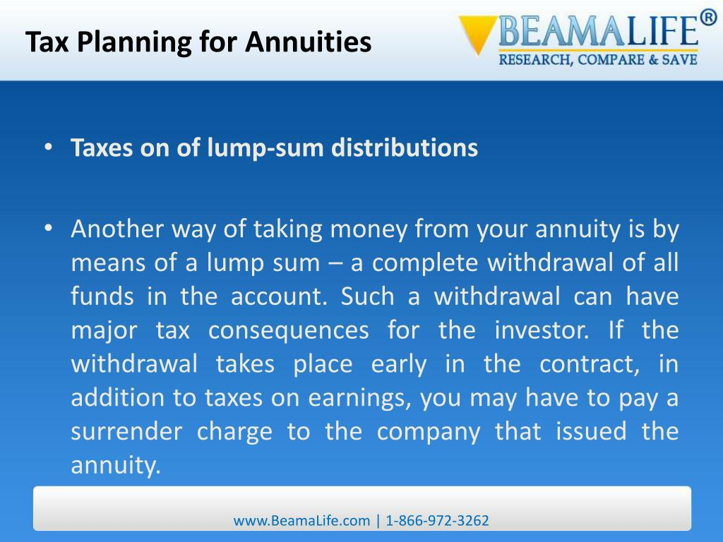 Tax Planning for Annuities