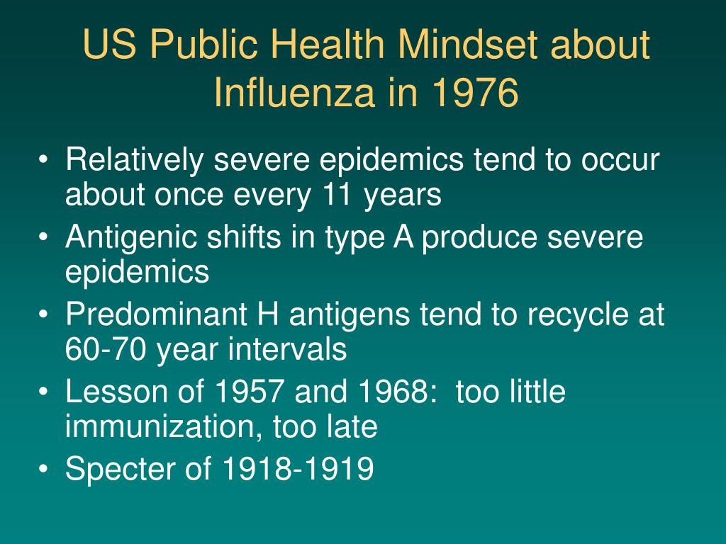 US Public Health Mindset about Influenza in 1976