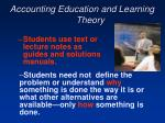 accounting education and learning theory106