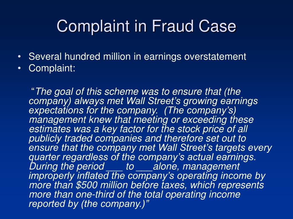 Complaint in Fraud Case