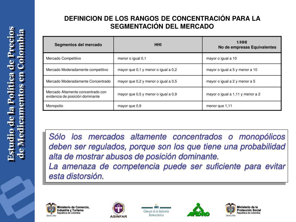 DEFINICION DE LOS RANGOS DE CONCENTRACIÓN PARA LA SEGMENTACIÓN DEL MERCADO