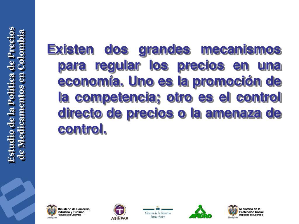 Existen dos grandes mecanismos para regular los precios en una economía. Uno es la promoción de la competencia; otro es el control directo de precios o la amenaza de control.