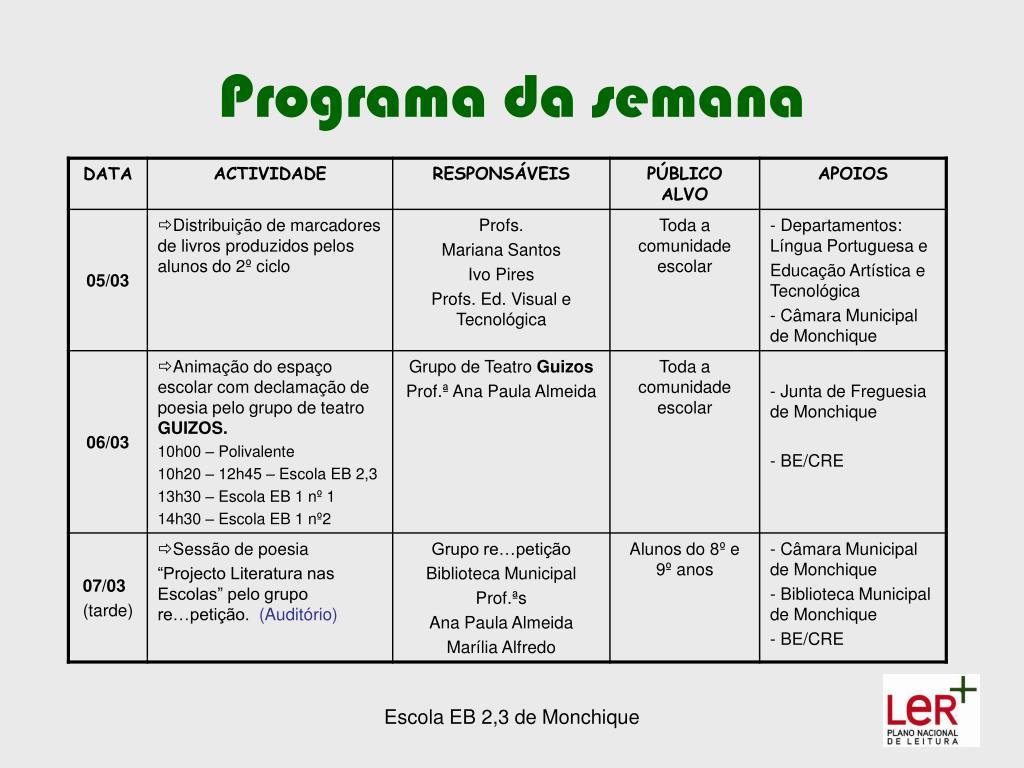 Programa da semana