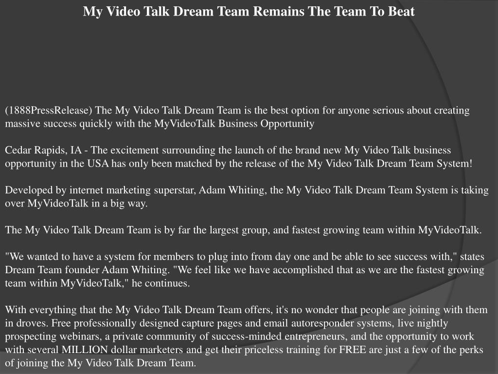 My Video Talk Dream Team Remains The Team To Beat