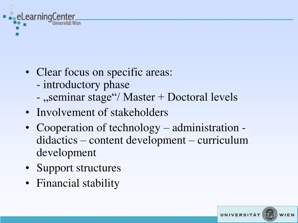 Clear focus on specific areas: