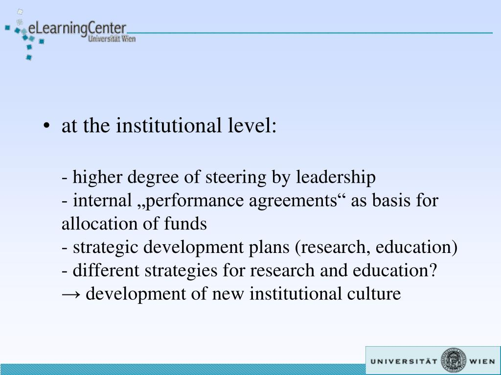 at the institutional level: