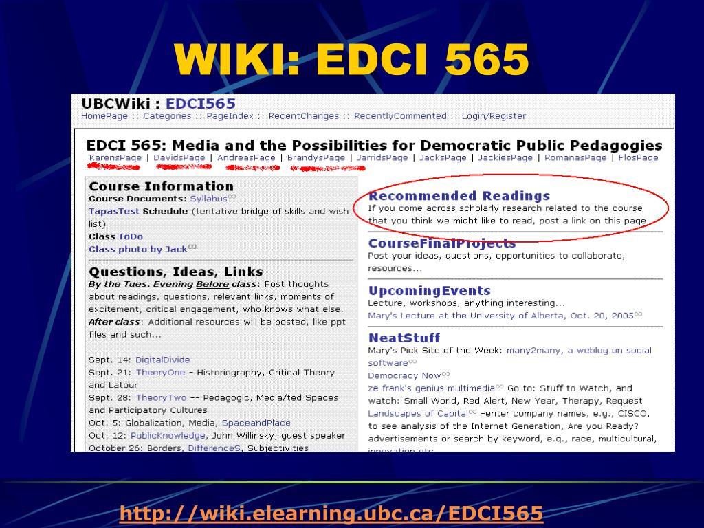 WIKI: EDCI 565