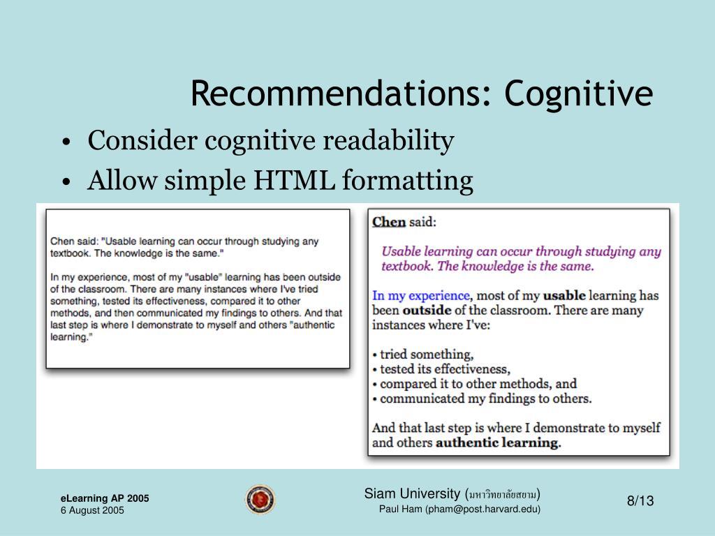 Recommendations: Cognitive