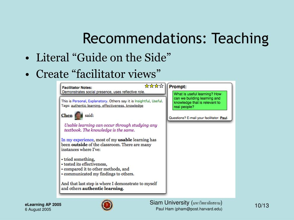 Recommendations: Teaching