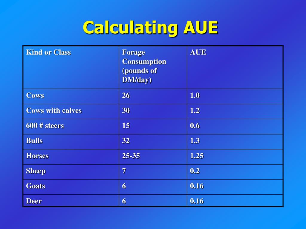Calculating AUE