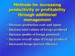 methods for increasing productivity or profitability through additional management
