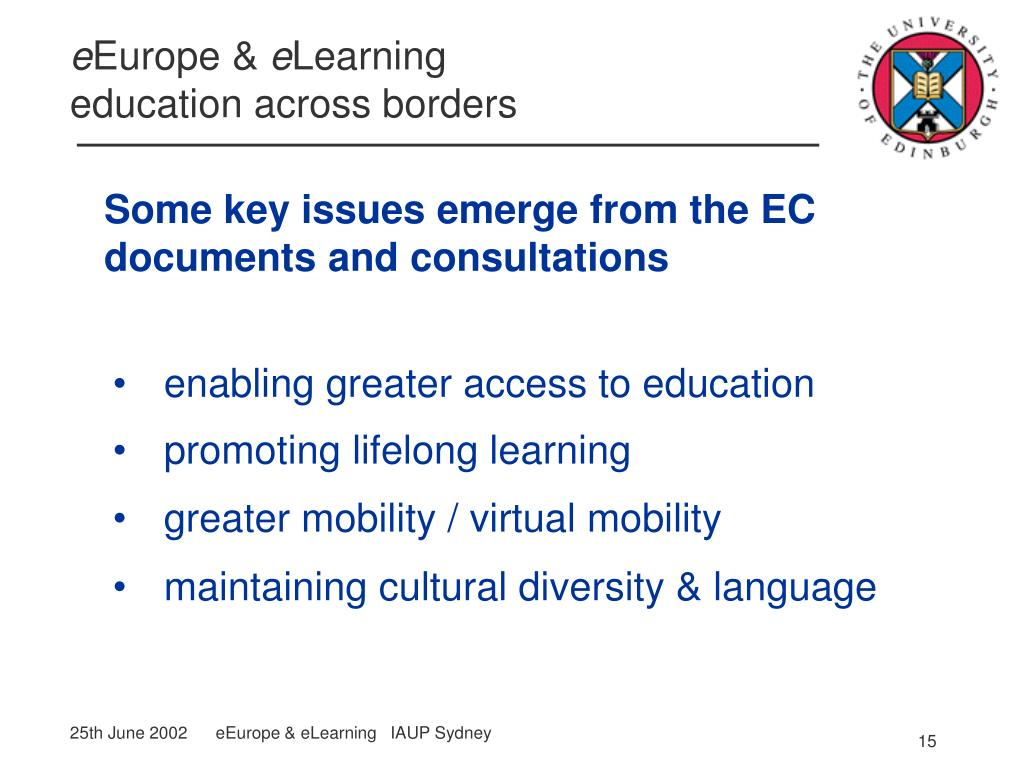 Some key issues emerge from the EC documents and consultations