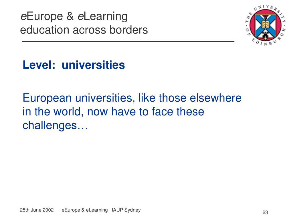Level:  universities