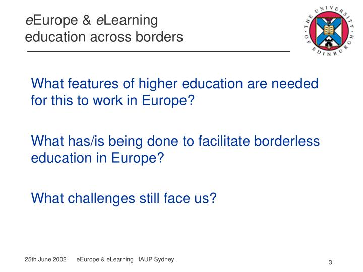 What features of higher education are needed for this to work in Europe?