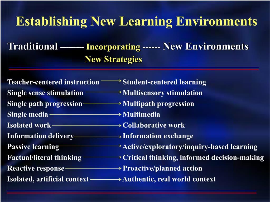 Establishing New Learning Environments
