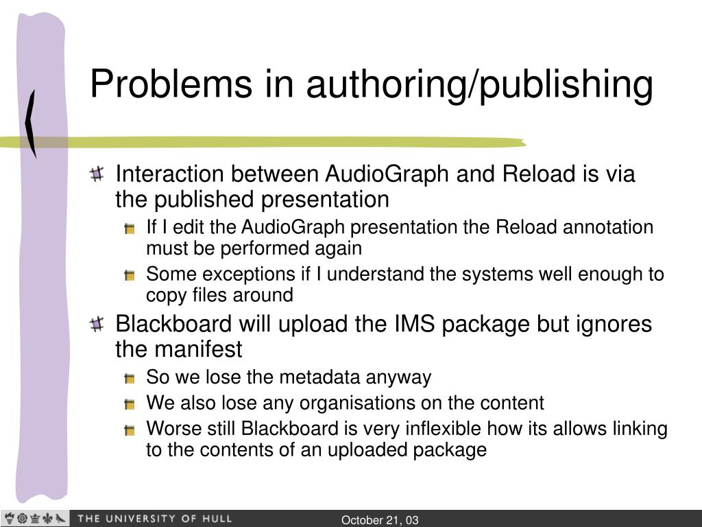 Problems in authoring/publishing