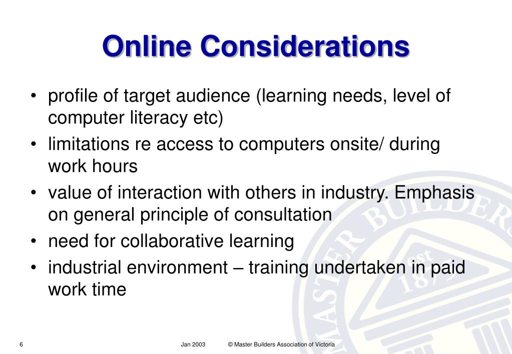 Online Considerations
