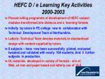 hefc d e learning key activities 2000 2003