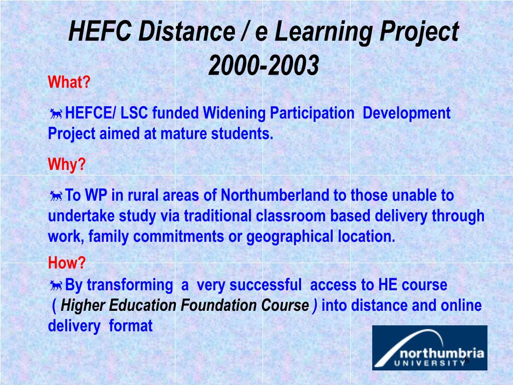 HEFC Distance / e Learning Project 2000-2003
