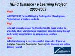 hefc distance e learning project 2000 2003