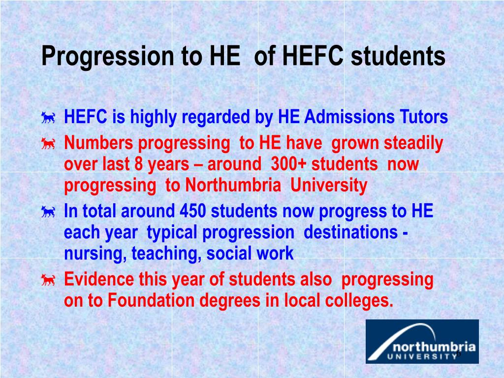 Progression to HE  of HEFC students