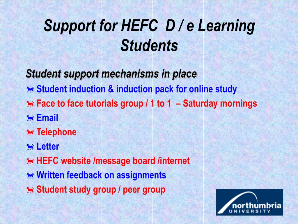 Support for HEFC  D / e Learning Students